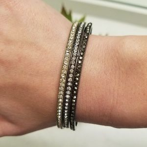 Jewelry - 3 Bangle Sparkle Rhinestone Silver Glam Bracelets